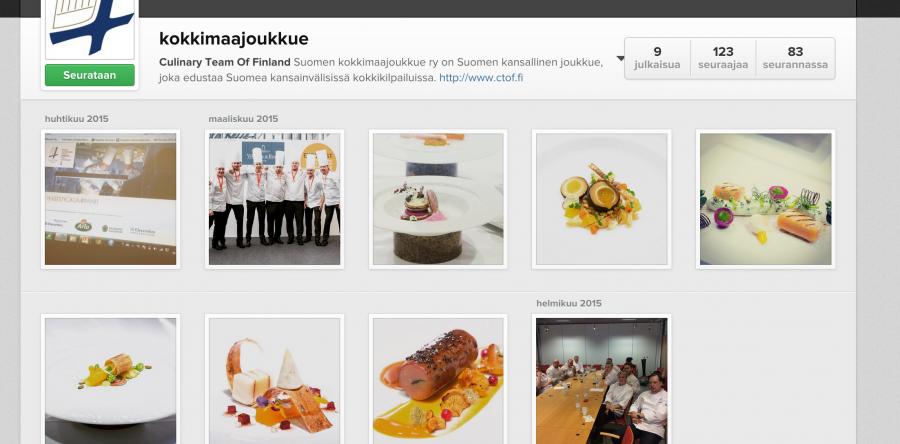 Suomen Kokkimaajoukkue Instagramissa, tule ja seuraa!